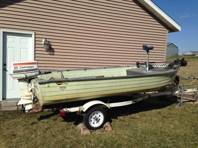 79 mirrocraft boat w trailer 25 hp johnson motor 25 foot for Used boat motors mn