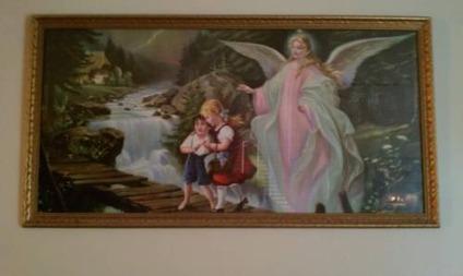 1960 Print Of Lindberg Guardian Angel And Children Crossing Bridge