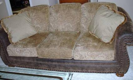 $1,000 Spanish Style Faux Leather Couch And Matching