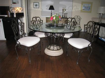 Obo Wrought Iron Table 6 Chairs And Etagere For Sale In