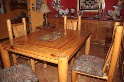 Unique Southwestern Lodgepole Pine Dining Table And 4 Chairs For Sale In Queen Creek Arizona
