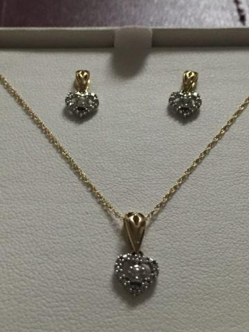 1/7 Ct Diamond Heart Pendant and Earrings Set