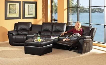 Promenade Black Leather Match Recliner Media Sectional
