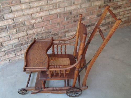 #1 ANTIQUE OAK COMBO BABY HIGHCHAIR STROLLER CHILDS
