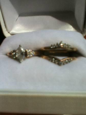 1 ct. marquis wedding rings - $750
