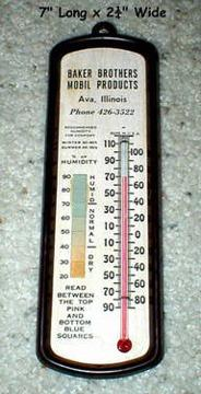 $10 Mobil Products Advertising - Vintage Old Thermometer - 1960s