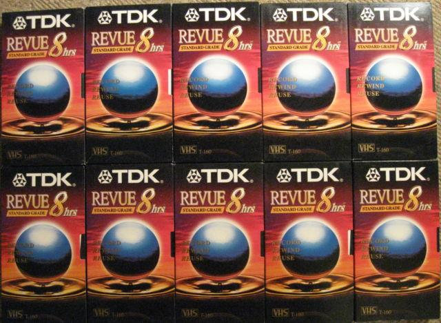 10 TDK VHS TAPES BLANK T-160 Standard Grade wBox LabelsSLIGHTLY USED
