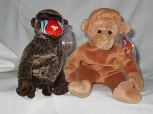 01dd2d7ffc1 Ty Beanie Babies Set of 2 Cheeks the Baboon and Bongo the Monkey for ...