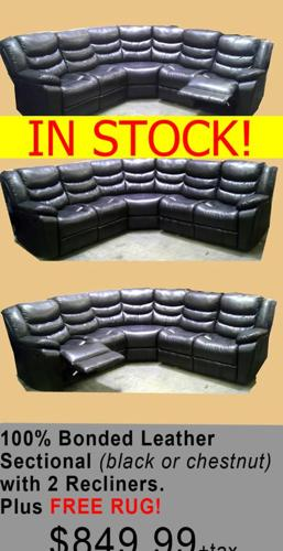 100 Bonded Leather Sectional With Recliners On Both Ends