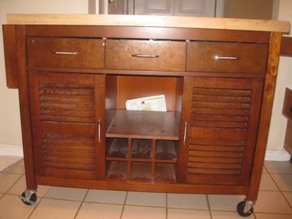 OBO Rolling Kitchen Island With Cabinet And Chopping Block For Sale In
