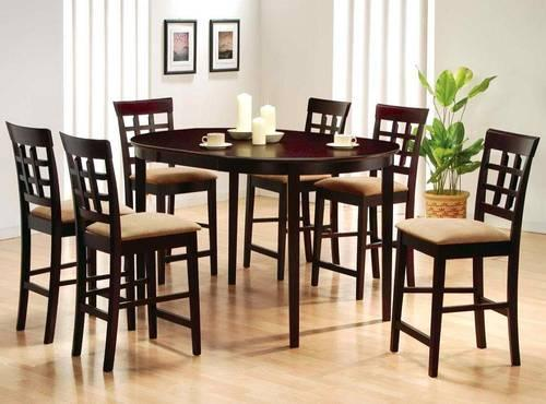 101490 5pc Dining Set with Round Glass Table Top in Cappuccino Finish