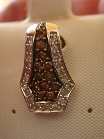 10K CHOCOLATE AND WHITE DIAMOND PENDANT - $175