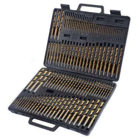 115pc HSS High Speed Steel Titanium Drill Bit Set Metal