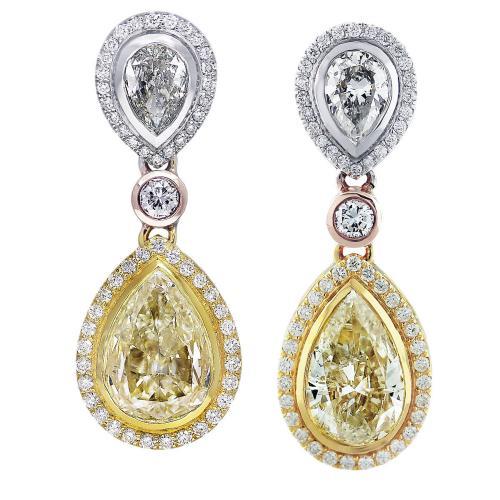11ct Fancy Yellow Diamond Pear Shape Drop Earrings 18K
