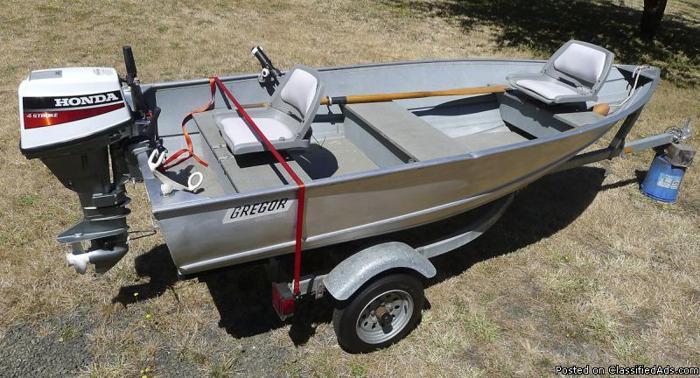 12.5 ft Gregor aluminum boat/trailer/9.9 Honda O/B motor ...