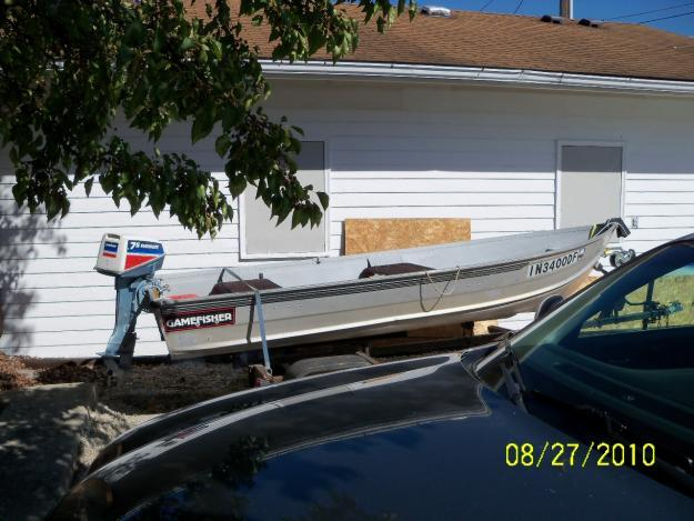 12 39 aluminum fishing boat with trailer for sale in corunna for Best aluminum fishing boat for the money