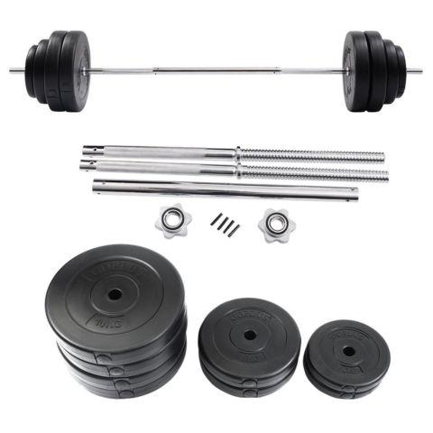 132 LB Barbell Dumbbell Weight Set Gym Lifting Exercise