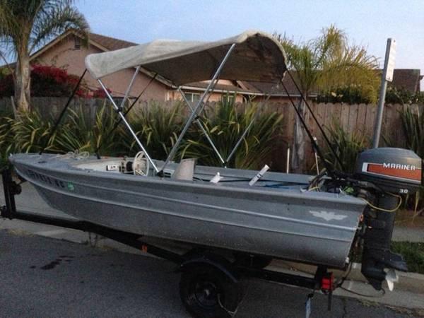 14 39 aluminum valco 30 hp mercury fishing boat for for 16 foot aluminum boat motor size