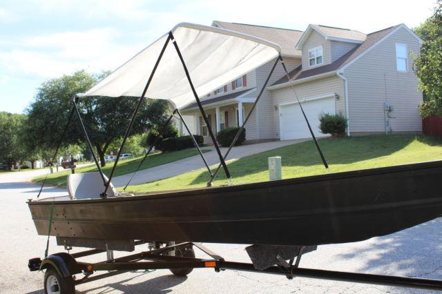 14 ft aluminum flats fishing skiff boat w/ motor and