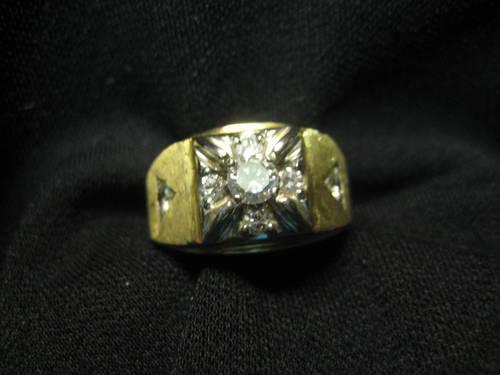 14 K MENS DIAMOND RING YELLOW GOLD 1 FULL CARET NICE