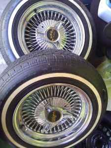 """14"""" lowrider 100spokes with white wall tires ..."""