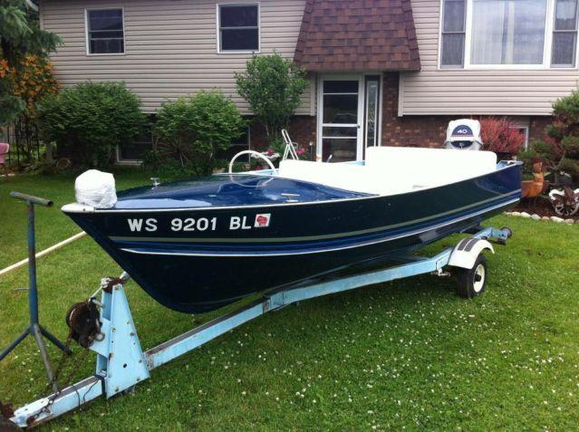 14 39 lund boat w motor and trailer for sale in genoa for Outboard motors for sale in wisconsin