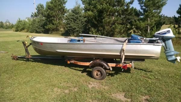 14 39 northwood boat trailer 15hp evinrude for sale in for Outboard motors for sale in wisconsin