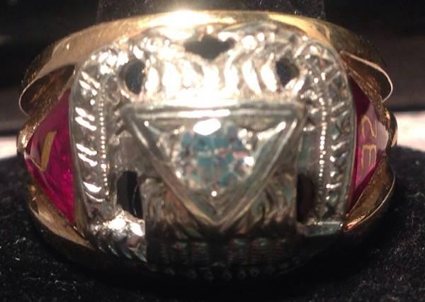 14k Shriner Ring 1/3ct Diamond - $850