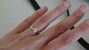 14k white gold, 4 prong solitaire diamond ring - $2900