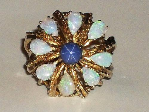 14k Yellow Gold Star Blue Sapphire And Opals Cluster Ring