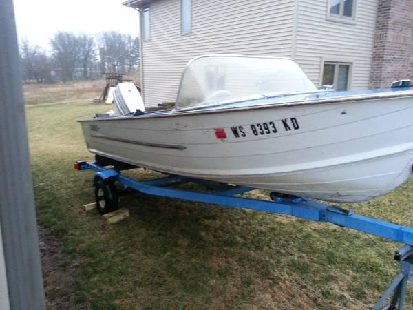15' boat with 55 hp outboard - for Sale in Milton, Wisconsin