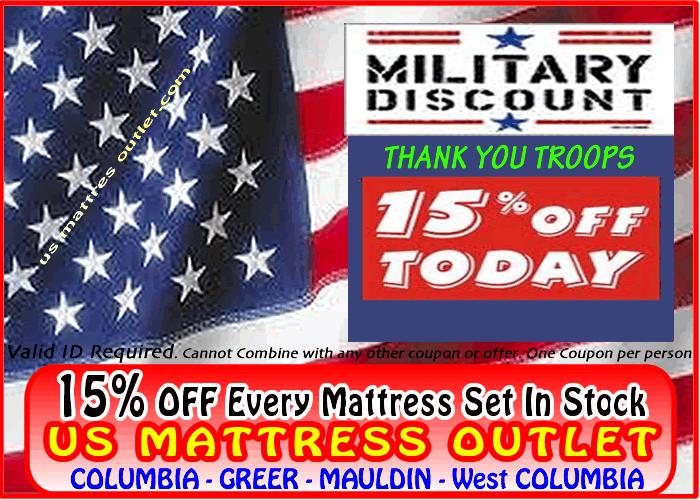 15 Military Discount On All Mattress Sets Us