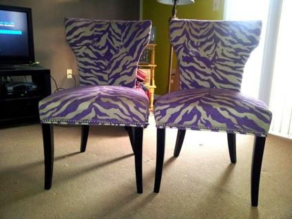 obo 2 taupe purple zebra striped chairs almost brand new for sale