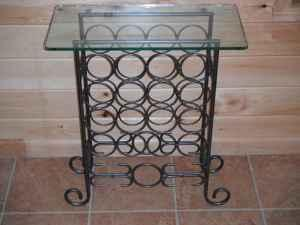 16 bottle iron wine rack glass top table 25 horseheads n y 14845 americanlisted 28959279 Glass Coffee Table Suction Cups