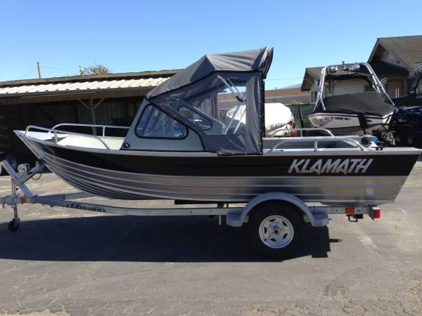 16 39 klamath aluminum fishing boat w trailer for sale in for Best aluminum fishing boat for the money