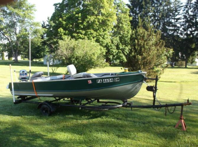 16' Metal Fishing Boat with 25hp Motor