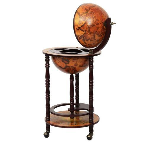 17 Wood Globe Wine Bar Stand talian Liquor Bottle Shelf Rack