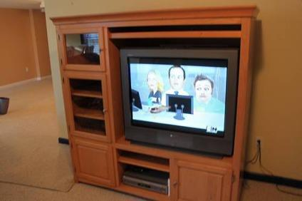 175 Light Colored Solid Wood Entertainment Center