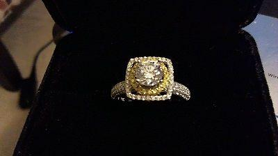 18 karat white gold yellow and white diamond engagement