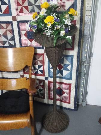 1800s Antique Victorian 4 Wicker Plant Stand Trumpet Floor Vase