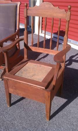 1850s Antique Potty Chair Commode Arm High Back