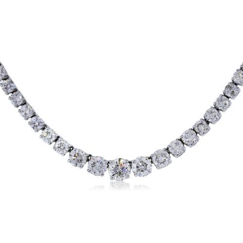 18k White Gold 15.12 Carat Total Weight Round Diamond
