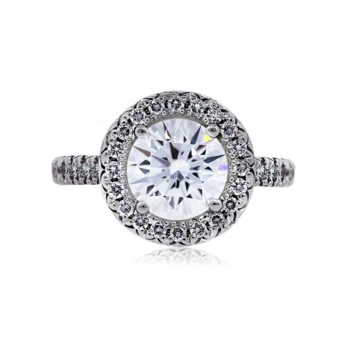 18k White Gold GIA 1.07ct Round Brilliant Halo Set