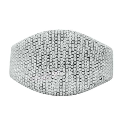 18k White Gold Micro Pave Diamond Bangle Bracelet
