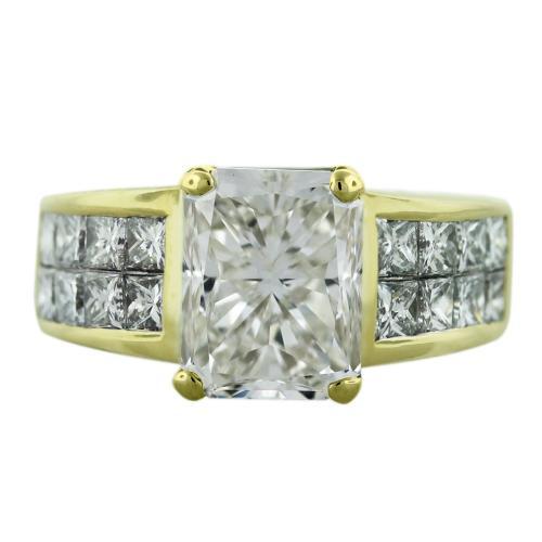 18k Yellow Gold 5.41 Radiant Cut Diamond Engagement