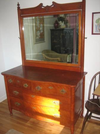 1900 Antique Cherry Wood Dresser With Mirror For Sale In