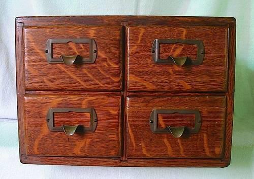 1902 Tiger Oak 4 Drawer Library Index Card Catalog File