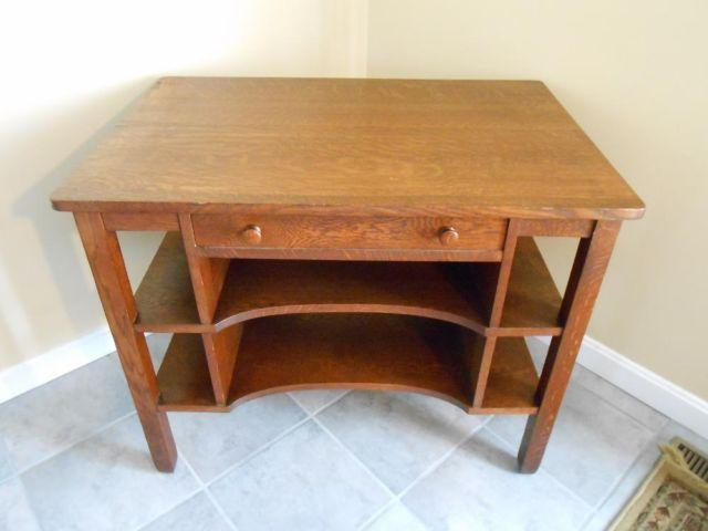1906 MISSION OAK LIBRARY TABLE W PULL-OUT DESKTOP DRAWER, Signed