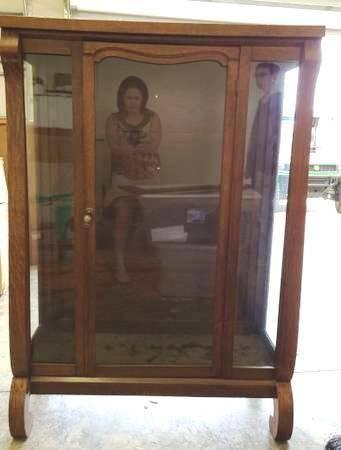 1910 Empire Style Oak Curio Display Cabinet (needs