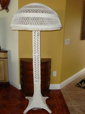 1910 White Wicker Floor Lamp With Dome Shade For Sale In